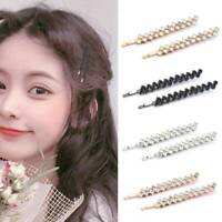 2PCS/Set Women's Girls Rhinestone Crystal Hair Clip Hairpin Slide Grips Clips