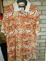 Mens Caribbean Joe Tropical Hawaiian White Orange Polo Palm Trees SZ XL