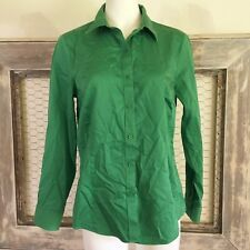 Coldwater Creek Womens Top Career M Medium 10 12 No Iron Green Button Down Solid