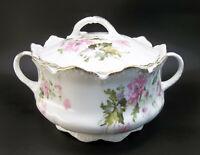 Antique RC Malmaison Bavaria Porcelain Pink Flowers Covered Biscuit Jar German
