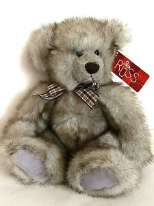 """Russ Jefferson Teddy Bear Plush Frosted Brown Black 10"""" w Tag Machine Washable"""