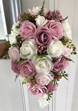BRIDES TEARDROP BOUQUET, Ivory/Dusky, Rose and Baby Pinks, Greenery natural look