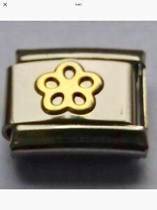 Gold CUTE FLOWER Daisy 9mm Italian Charm Fits Classic Bracelet Link Charms