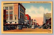 Shreveport Louisiana LA Texas Street View Stores Cars Bus Teich Postcard 1937