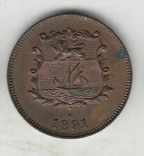 BRITISH NORTH BORNEO 1/2 CENT 1891 COPPER EF+ SCARCE    173C     BY COINMOUNTAIN