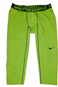 Nike Pro Combat Compression Tights Neon Yellow Dri Fit Base Layer  XL
