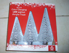 3pc CIear Acrylic Color Changing Lighted Christmas Tree Mantle/Table Decoration