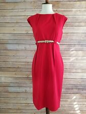Calvin Klein Size 6 Red Fitted Belt Hourglass Mid Length Professional Dress