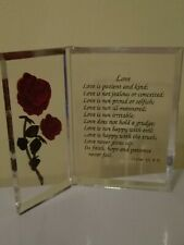 Vintage Love Poem with Rose Clear Acrylic Free Standing Plaque Sign Décor