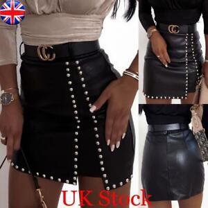 UK Womens Ladies PU Leather High Waist Pencil Skirt Wet Look Bodycon Mini Skirt