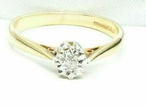 0.10 Ct E/SI1 Round Cut Diamond Wedding Solitaire Ring In 14Kt Fine Yellow Gold
