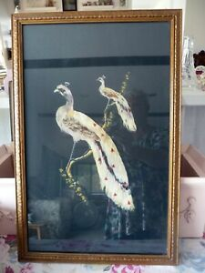 Vintage/Antique Bird FEATHER Art! 1940's Wood Gold Frame! Original/Hand Painted!
