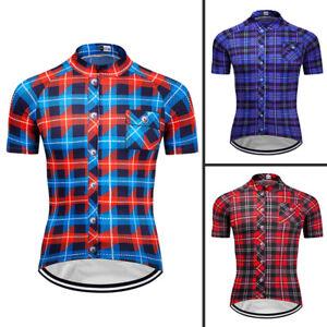 Men's Plaid Checkered Shirt Cycling Jersey Bike Shirts Racing Clothing Maillots