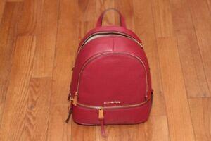NWT Michael Kors $298 Rhea Medium Zip Leather Backpack Handbag Mulberry