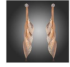 On Trend Rose Gold Plated Crystal Leaf Teardrop Dangle Earrings Women Jewellery