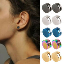 316L Surgical Steel Magnetic Non Piercing Round Disc Punk Stud Earrings 6-10MM
