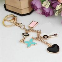 Roses Flower Heart Type Key Chain Bag Purse Charm Ring Crystals Key Chain Holder