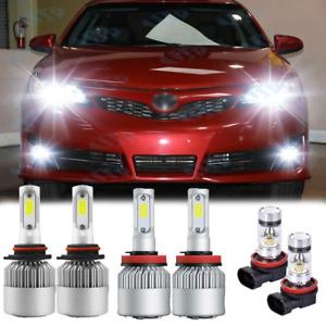 For Toyota Camry 2007-2014 - White LED Headlight + Fog Light 6x Bulbs Combo Kit