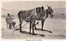 Cyprus Threshing Corn Farming Scene Real Photo Vintage Postcard AA43235
