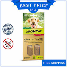Drontal Allwormer For Dogs Up to 35 Kg 2 Chews Red Pack by Bayer AU Stock