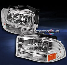 1997-2004 DODGE DAKOTA/1998-2003 DURANGO CRYSTAL HEAD LIGHT BUMPER+CORNER CHROME