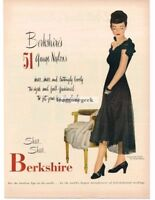 1946 Berkshire Nylons 51 Gauge Elegant Woman Black Dress Vtg. Fashion Print Ad