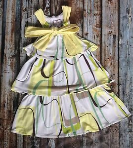 Halabaloo Party Wedding Boutique Tiered Twirl Yellow Dress ~ 4T 4