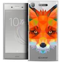 """Coque Housse Etui Pour Sony Xperia XZ1 (5.2"""") Polygon Animal Souple Fin Renard"""