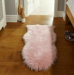 Sheepskin Faux Fur Rug Pink 2x3 ft Artificial Sheep Wool Genuine Lookalike Rug