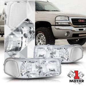 Chrome Housing Headlight Clear Corner Signal for 99-07 GMC Yukon/Sierra GMT800