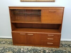 MID Century Modern Lighted Teak Credenza Cabinet 3 Levels Pr Glass Doors Drawers