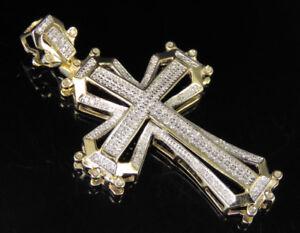 """Men's 10K Yellow Gold Real Diamond Framed Cross Pendant Charm 1/2 CT 1.8"""""""