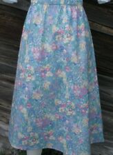 Ladies Skirt A-line light blue floral twill cotton long full modest M 10 12