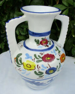 "Very Pretty Handpainted Portuguese Mediterranean Double Handled 9"" Tall Urn Vase"