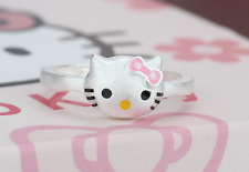 Adorable Pink Bow *Hello Kitty* Cat Kitten 925 Sterling Silver Adjustable Ring