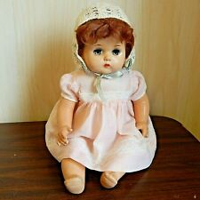 "Vintage Unmarked 18"" Composition Mama Doll w/Mohair Wig, Vintage Dress & Bonnet"