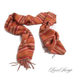 Johnstons Made in Scotland 100% Cashmere Sunset Orange Multi Stripe Fall Scarf