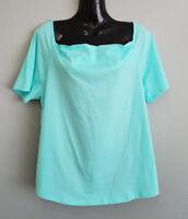 BNWT Womens Sz XL 16 MIX Brand Aruba Blue Short Sleeve Cowl Neck Style Top