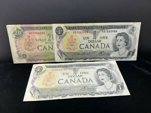 CANADA 1-20 DOLLARS BANKNOTE 1969-1973 (3 PIECES)
