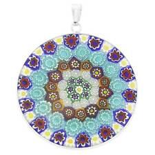 """GlassOfVenice Murano Glass Millefiori Pendant in Silver Frame 1-1/2"""""""