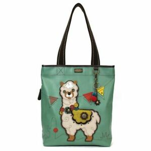 New Chala Everyday Zip Tote Bag Vegan Leather Teal Blue Green gift LLAMA