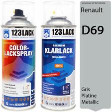 Autolack Lackspray Set Renault D69 GRIS PLATINE Metallic Spray + Klarlack