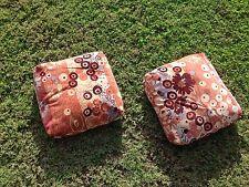 Jack Lenor Larsen Vintage Pink Primavera Pillows Cushions Pair 14x14 Mid Century