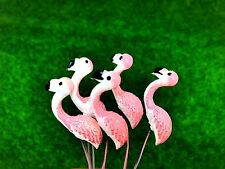 5 Terrarium Mini Pink Flamingo Stake Miniature Dollhouse Fairy Garden