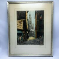 Original Etching by RONSARD Signed Matted Framed PARIS FRANCE Cityscape