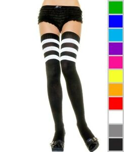 New Leg Avenue 6605 Athletic Ribbed Thigh High Stockings