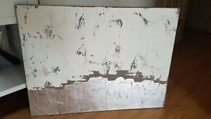 Sarah Brook Middle Of Nowhere Industrial White Painting Abstract-36'' x 27''