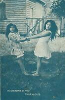 VINTAGE 2 YOUNG GIRLS PLAYING TURN ABOUTS POSTCARD - Australian Series - UNUSED