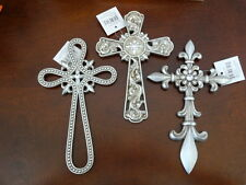 "8"" Fleur De Lis Silver Faux Metal Wall Cross Charm Ornament Rustic Set of 3"