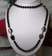 Black Onyx With 14k Gold Beaded Necklace.B014